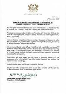 Nana Addo Danquah Akuffo Addo sends his condolences to the family of ex president Jerry John Rawlings